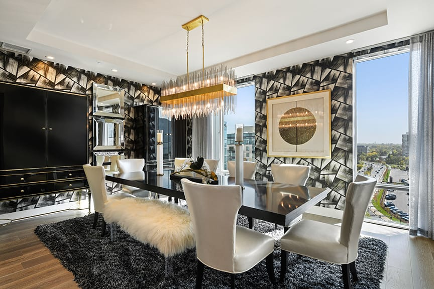 Black and White Hollywood Regency Dining Room